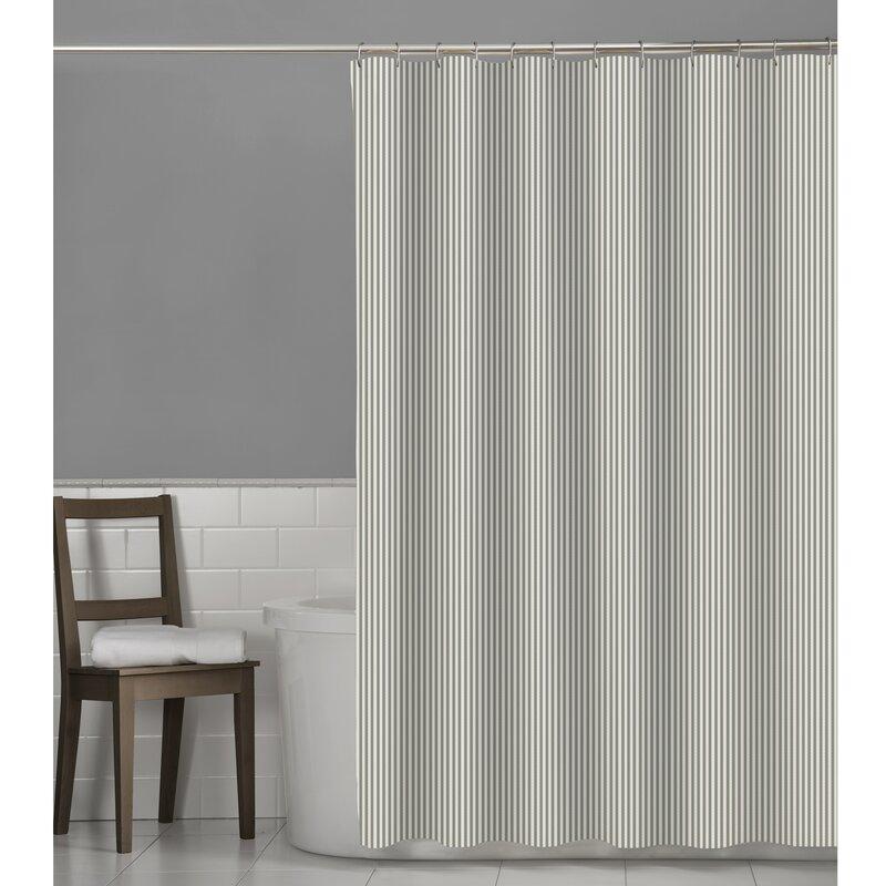 Black white stripe shower curtain