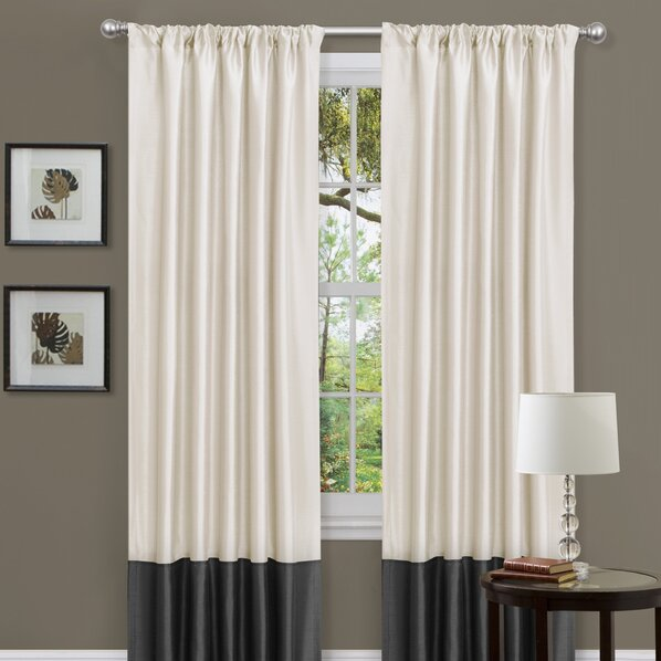 Black white horizontal striped curtains 2