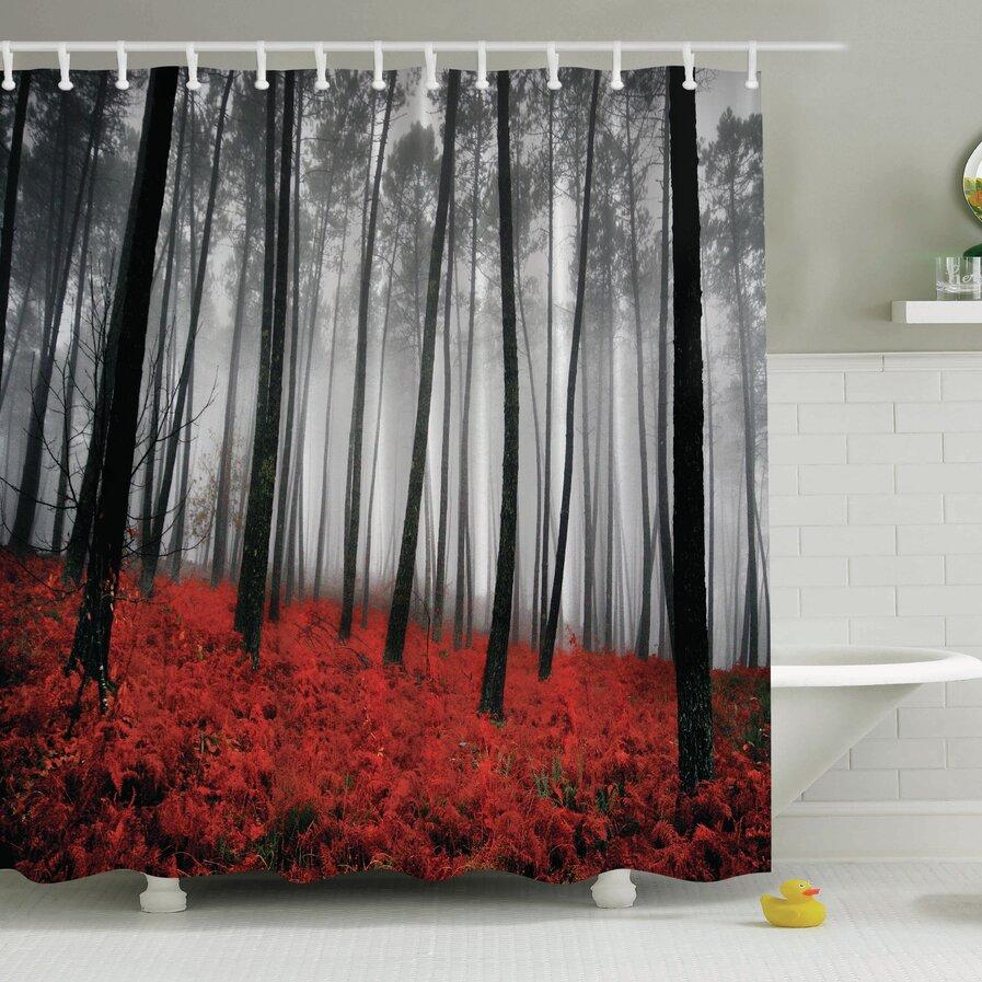 Black tree shower curtain