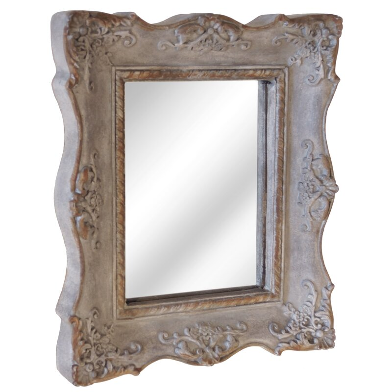 62 x 52cm Grey Wood Framed Mirror with Wall Hanging