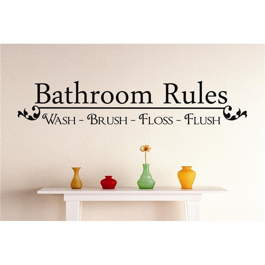 Bathroom rules wall
