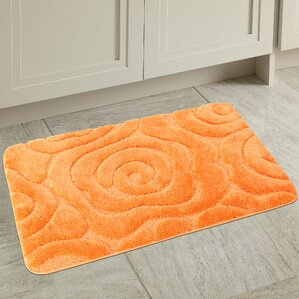 Orange bathroom rugs