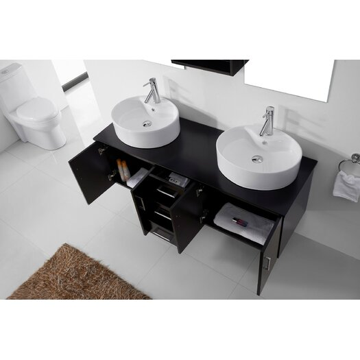 Enya   Double Bathroom Vanity Set With White Top Mirror Reviews