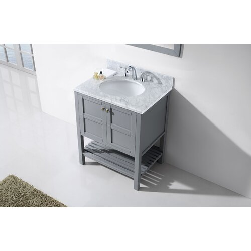 Virtu Winterfell  Single Bathroom Vanity Set With White Marble Top
