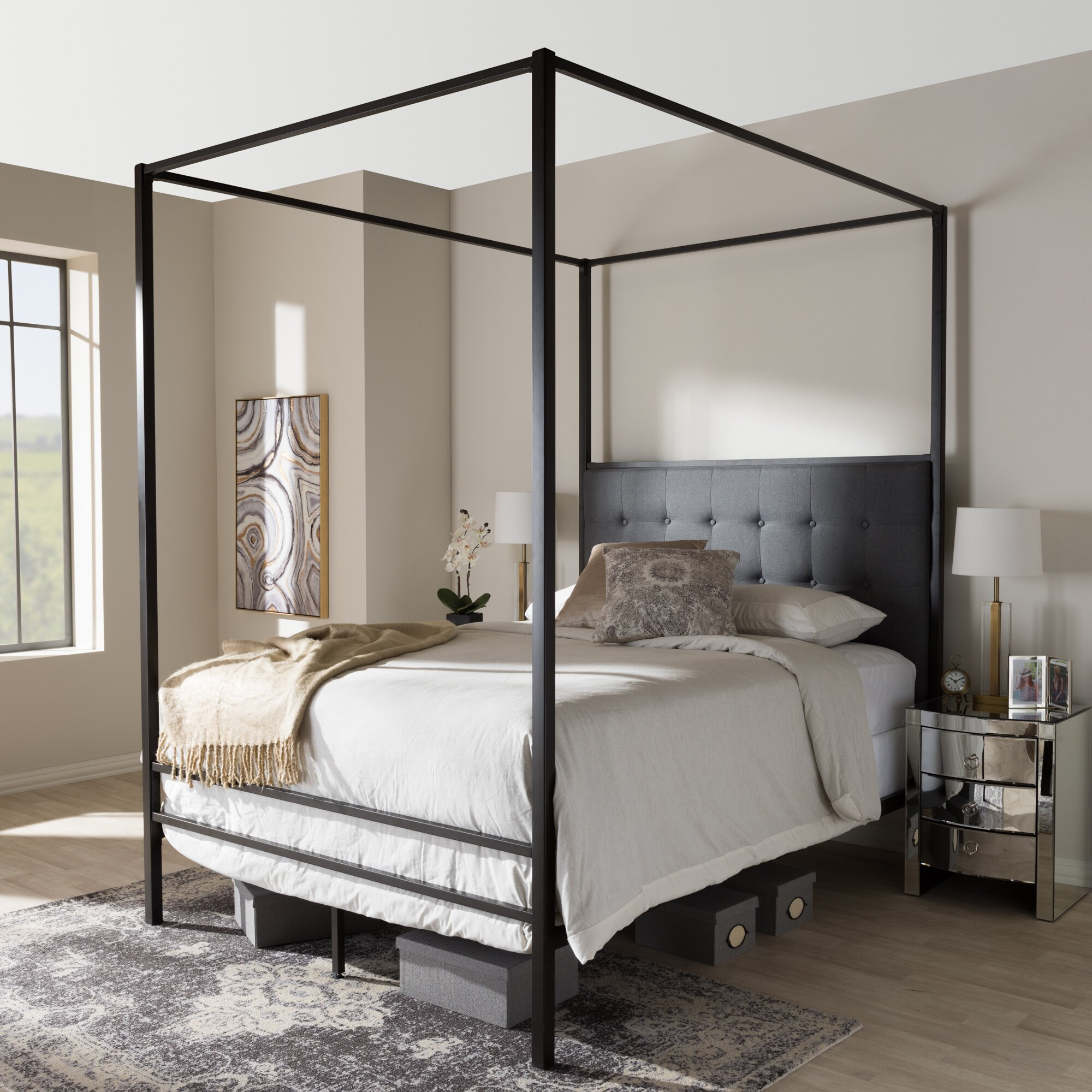 Metal Queen Poster Bed Frame Wrought Iron Canopy Headboard Footboard