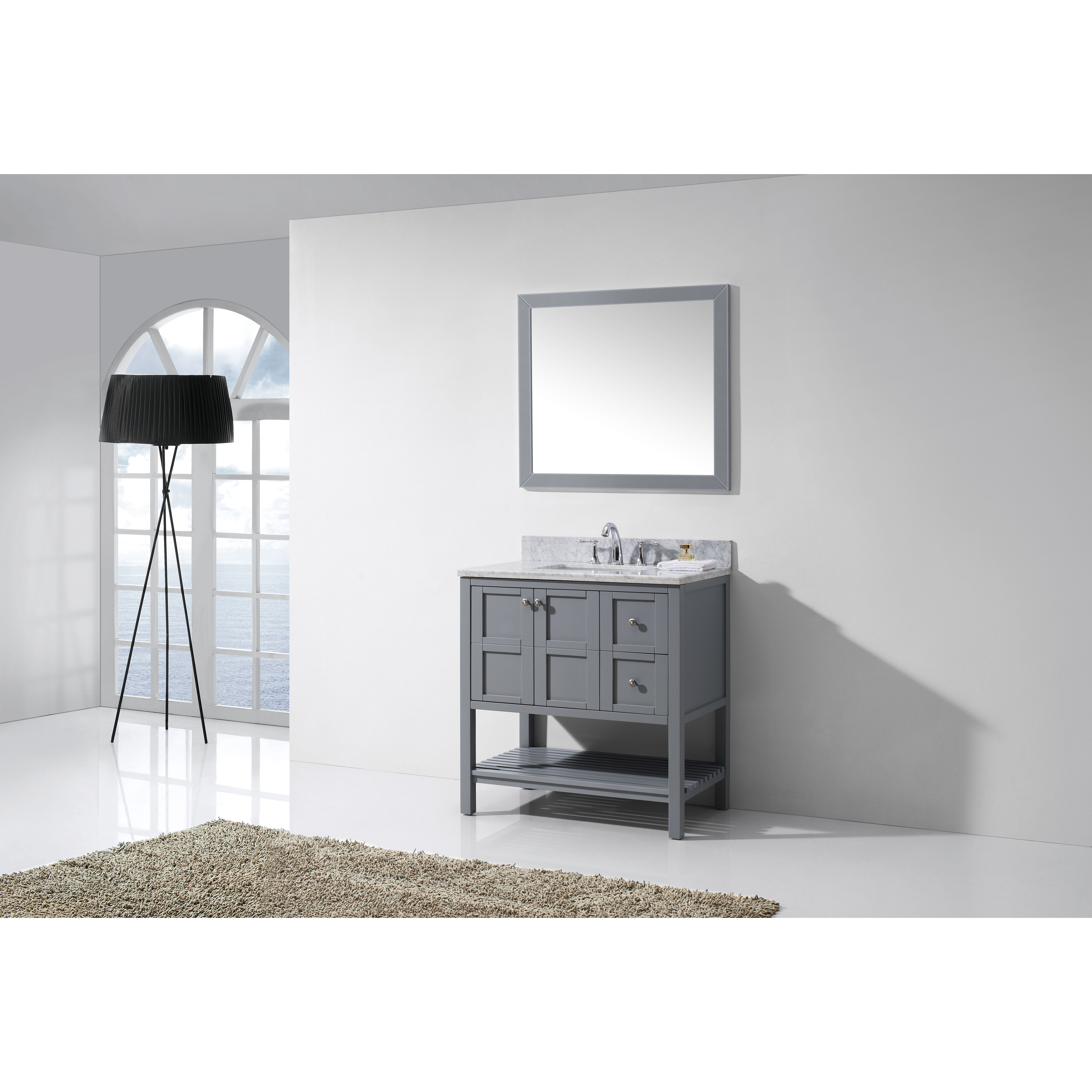 Virtu Winterfell Six Single Bathroom Vanity Set With Carrara White Top And Mirror Reviews