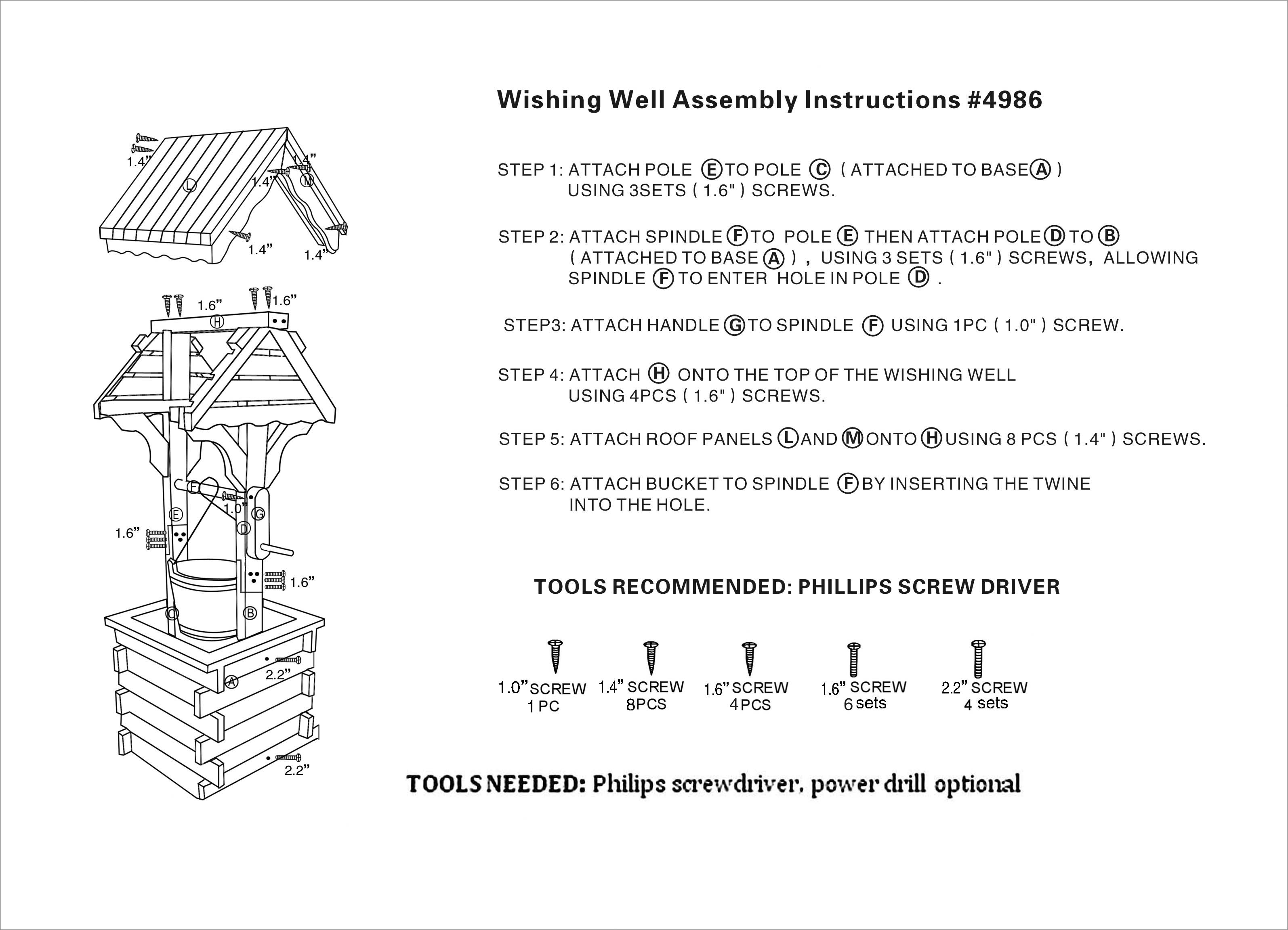 Wishing well lawn ornament - Assembly Instructions