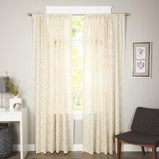 Linen Kimberly Trellis Rod Pocket Curtain Panel (Set of 2)