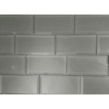 Lulu 3' x 6' Peel and Stick Glass Subway Tile in Gray