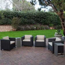 Morales Outdoor Wicker 6 Piece Lounge Seating Group with Cushions