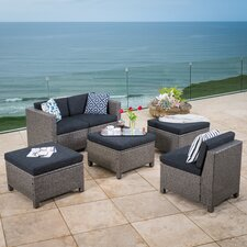 Morales Outdoor Wicker 6 Piece Deep Seating Group with Cushion