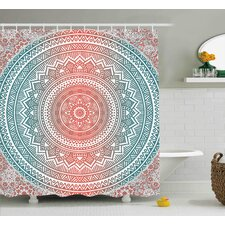 Arsdale Teal and Coral Ombre Mandala Art Antique Gypsy Stylized Folk Pattern Mystical Cosmos Image Shower Curtain by Bungalow Rose