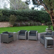 Morales Outdoor Wicker 6 Piece Deep Seating Group with Cushions