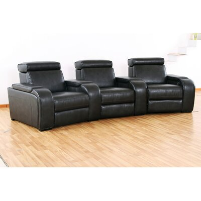Meadows Leather Home Theater Recliner (Row of 3) Wildon Home®