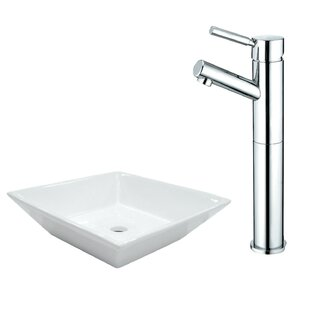 Best Reviews Ceramic Square Vessel Bathroom Sink with Faucet By Kingston Brass