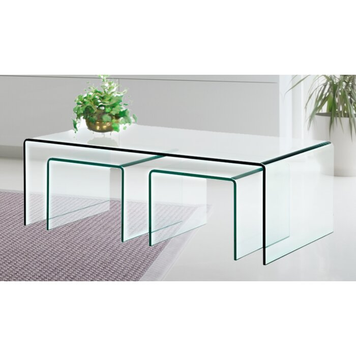 Clear Bent Gl 3 Piece Nesting Tables