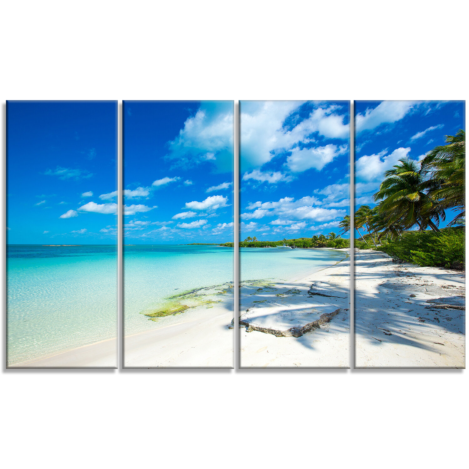 Designart Tropical Beach With Palm Shadows 4 Piece Photographic Print On Wrapped Canvas Set In Blue Wayfair
