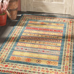 Foret Noire Machine Woven Blue Red Area Rug