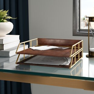 Holtman Stacked Metal and Faux Leather Letter Trays