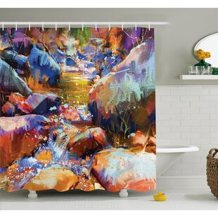 Waterfall with Rock Stones in the River Acrylic Stylized Digital Picture Shower Curtain Set
