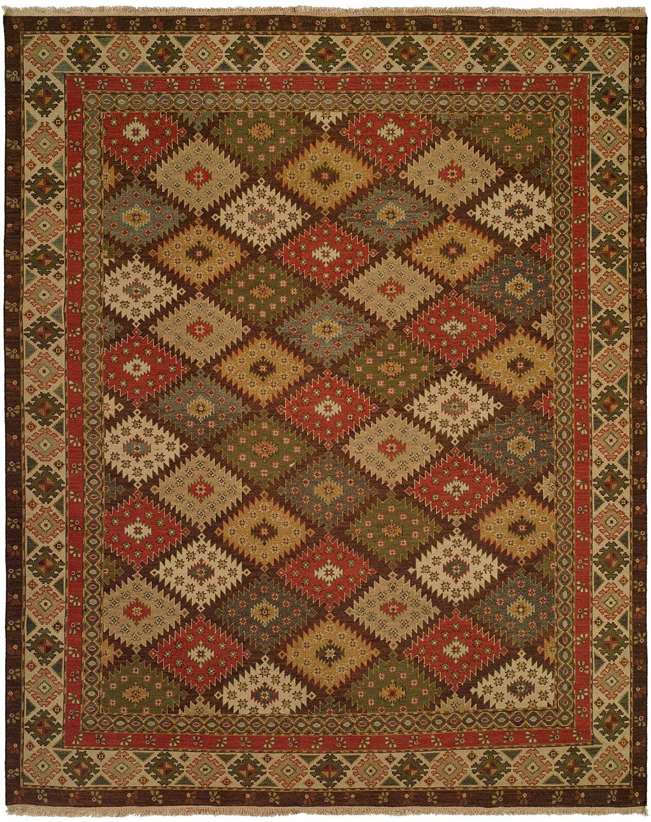 Wildon Home Geometric Hand Knotted Wool Red Brown Area Rug Wayfair