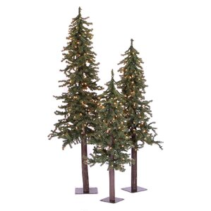natural alpine green artificial christmas tree with 450 clear lights u0026 stand - Prelit Christmas Tree
