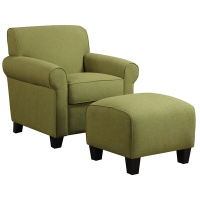 Aine Armchair and Ottoman Upholstery Color: Apple Green Linen by Andover Mills