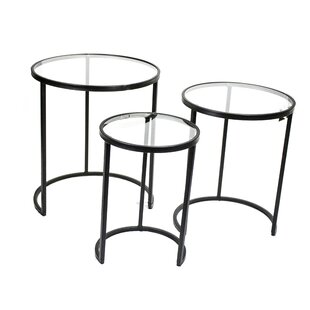 Ajax Metal and Glass 3 Piece Nesting Tables