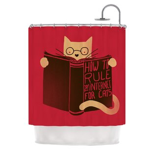 How to Rule the Internet For Cats by Tobe Fonseca Typography Single Shower Curtain