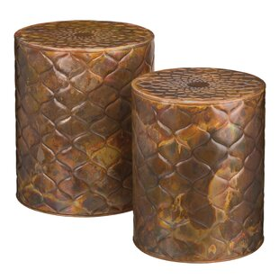 2 Piece Copper Trellis Garden Stool Set