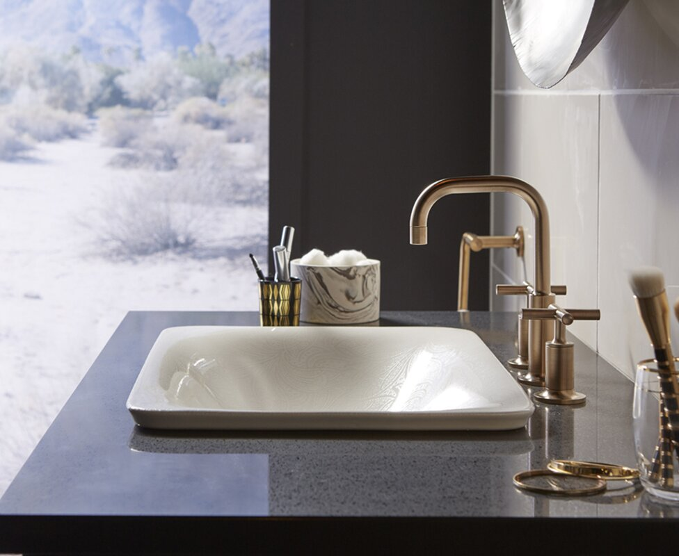 Sartorial Vitreous China Rectangular Vessel Bathroom Sink