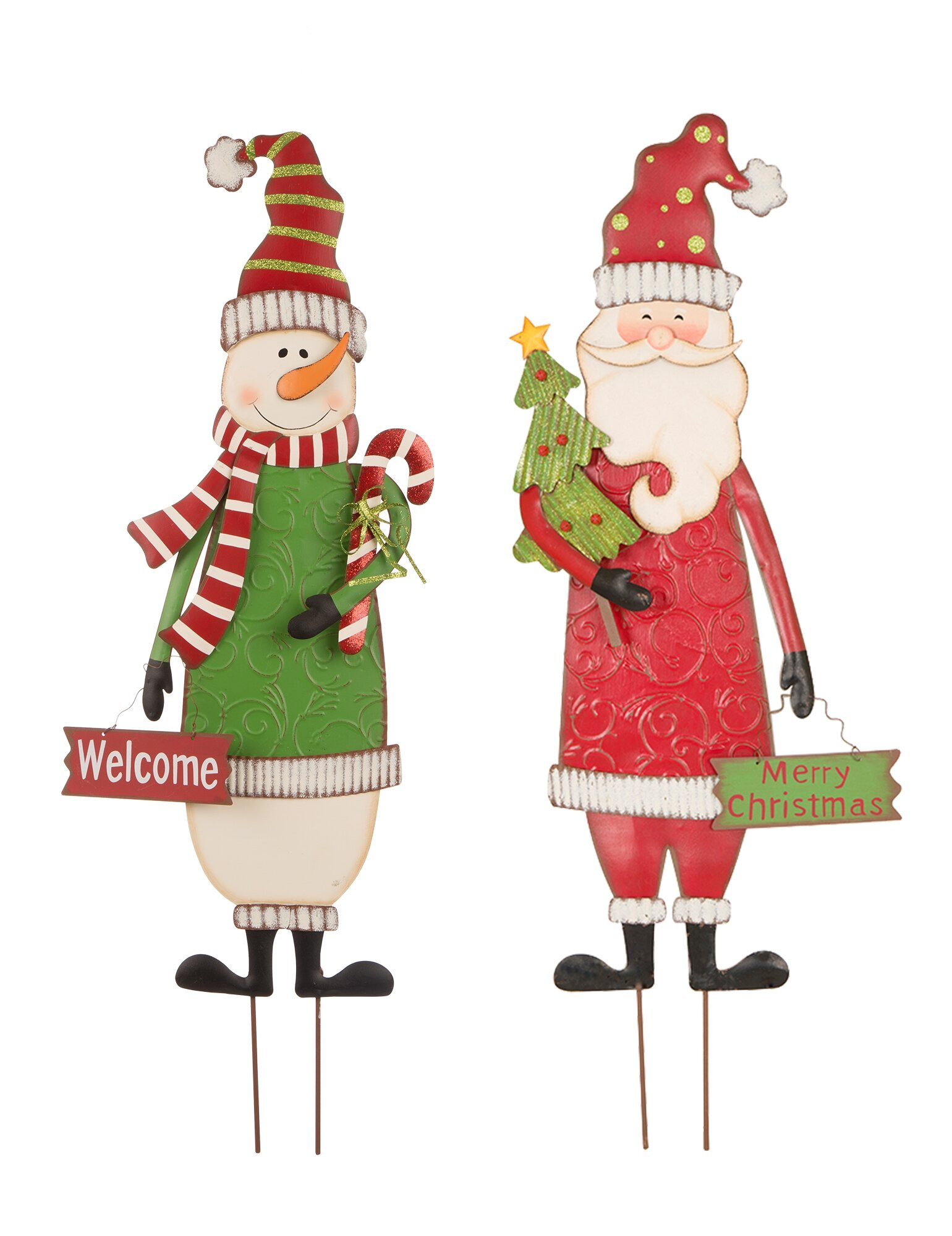 The Holiday Aisle 2 Piece Snowman And Santa Garden Stake Set Reviews Wayfair