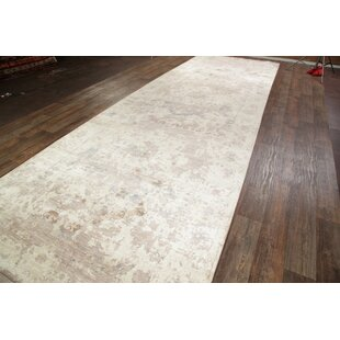 One-of-a-Kind Alexia Heriz Oriental Hand-Knotted 30' 8'' X 7' 1'' Silk Beige/Ivory Alexiaor/ Area Rug by Astoria Grand