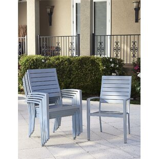 Yohan Stacking Patio Dining Chair with Cushion (Set of 6)