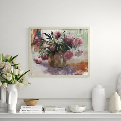 'Peonies in Copper Bucket' - Picture Frame Painting Print on Canvas