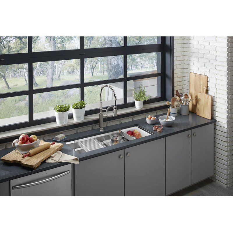 Prolific 44 In X 18 1 4 In X 10 In Under Mount Single Bowl Kitchen Sink With Accessories
