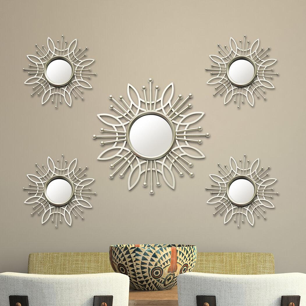 Stratton Home Decor 5 Piece Burst Wall Mirror Set Reviews Wayfair