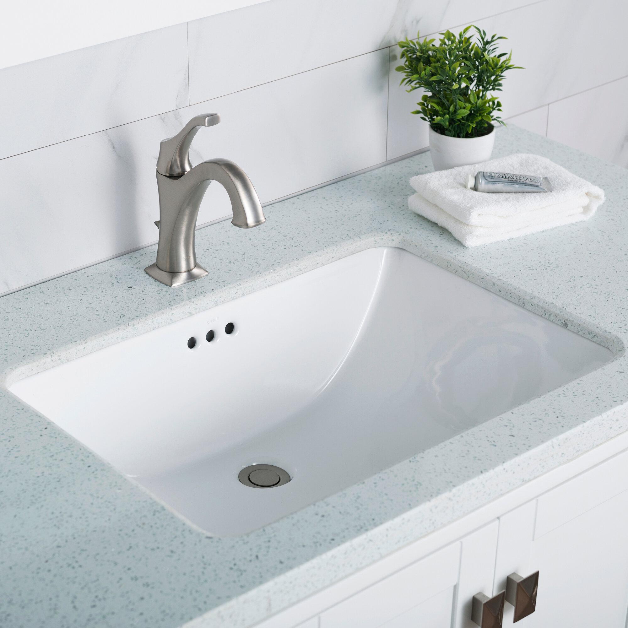 Elavo White Ceramic Rectangular Undermount Bathroom Sink