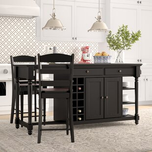 3 piece kitchen set counter height kidd piece kitchen island set wayfair