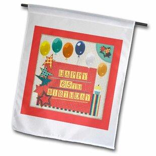 65th Birthday Balloons Cupcake Stars Block Letter Polyester 16 X 1 Garden Flag