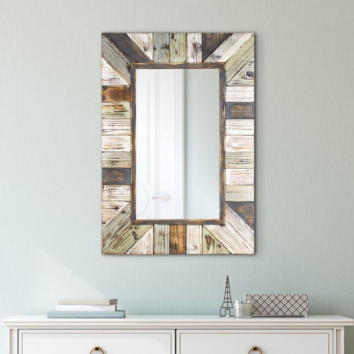 Whitlock Rustic Wood Plank Rectangular Framed Wall Mirror