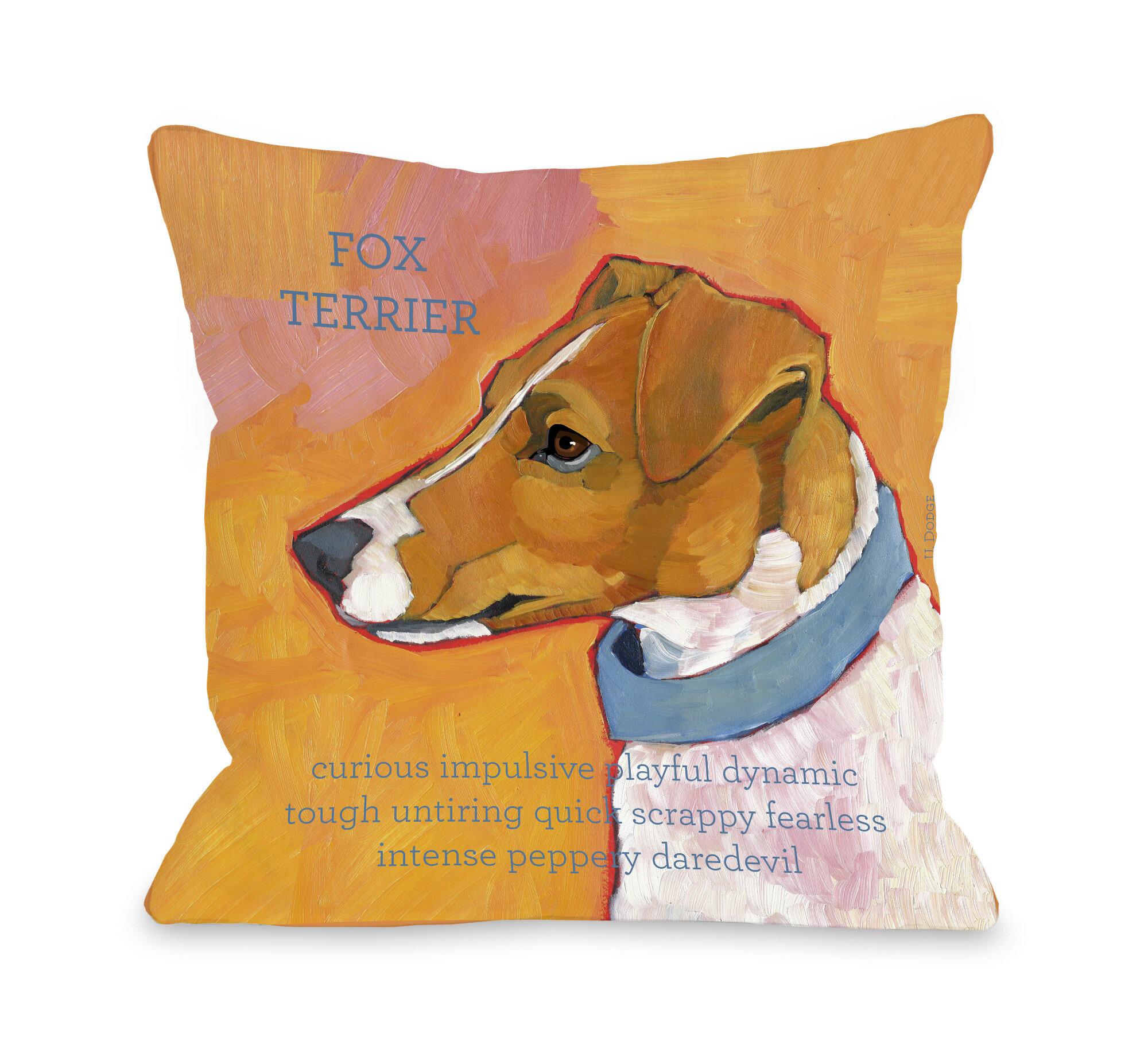 Winston Porter Kaelan Fox Terrier Throw Pillow Wayfair