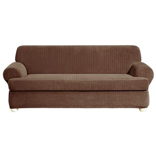 Stretch Pinstripe T-Cushion Sofa Slipcover