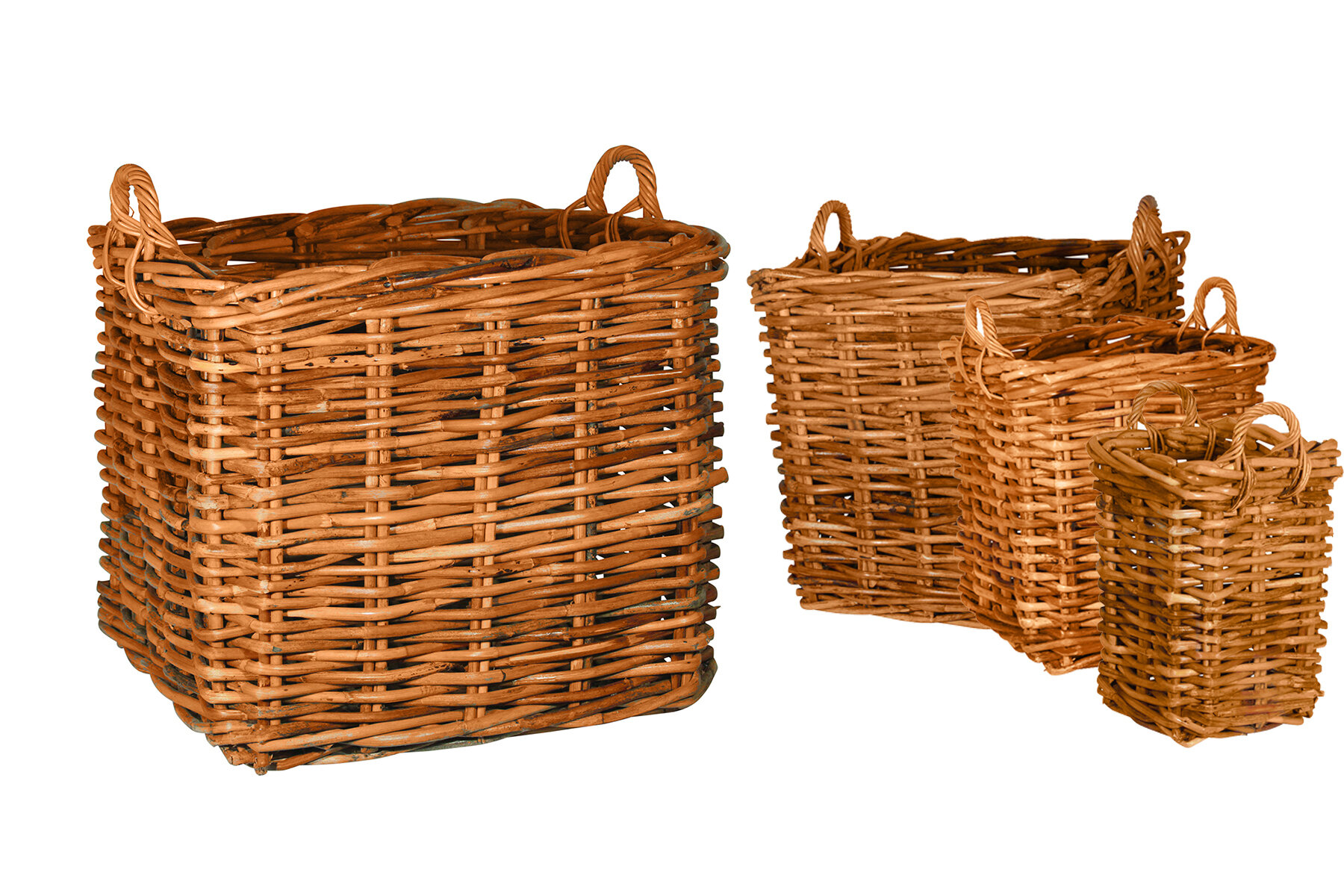 Round Saint Tropez Rattan 4 Piece Basket Set By Ibolili