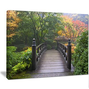 U0027Wood Bridge At Japanese Garden In Fallu0027 Photographic Print On Wrapped  Canvas