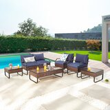 Handrahan Outdoor 7 Piece Sofa Seating Group with Cushions by Red Barrel Studio®