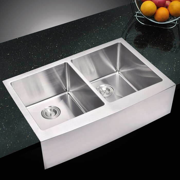 0 59 Corner Radius 50 Stainless Steel 33 L X 22 W Double A Kitchen Sink