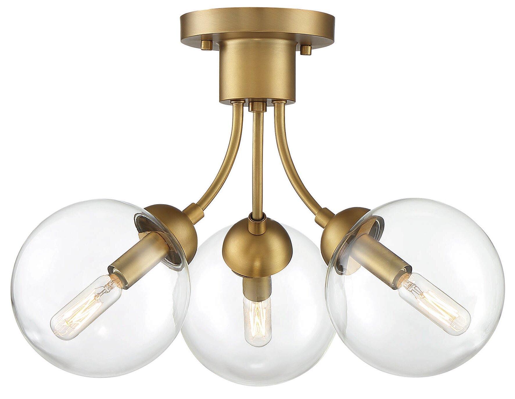Brewer 3 Light 16 Cluster Globe Semi Flush Mount Reviews Allmodern
