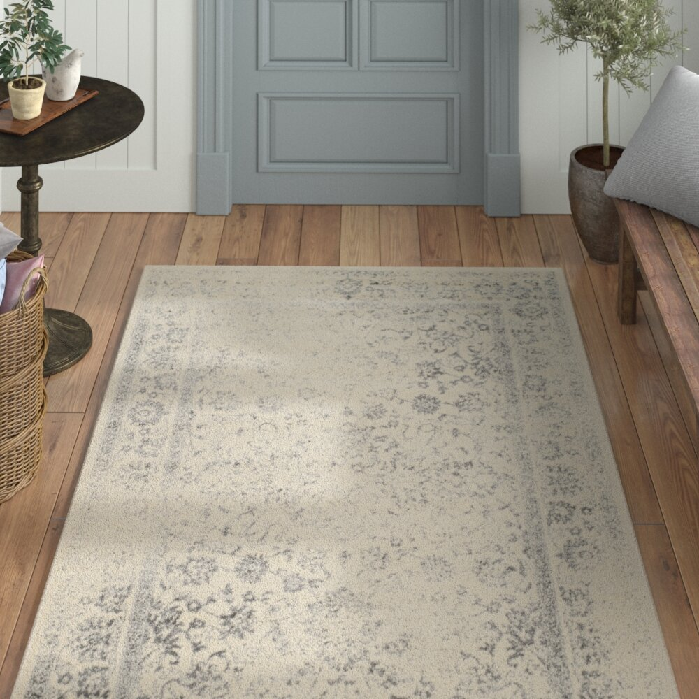 Laurel Foundry Modern Farmhouse Power Loom Aiken Ivory/Silver Area Rug U0026  Reviews | Wayfair
