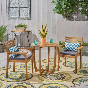 Estrela 3 Piece Bistro Set with Cushions